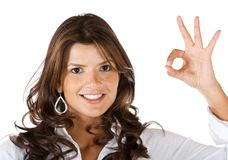Woman making an ok sign Stock Images