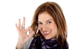 Woman making an ok sign Royalty Free Stock Image