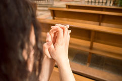 Woman is making an orison to Jesus Stock Images