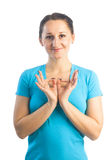 Woman making padma mudra gesture Royalty Free Stock Image