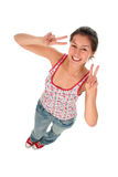 Woman Making Peace Sign royalty free stock photography