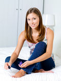 Woman  making pedicure Stock Images