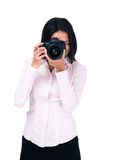 Woman making photo on camera Stock Images