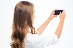 Woman making photo on smartphone Royalty Free Stock Photo