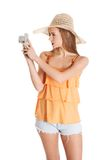 Woman making photos on vacations Royalty Free Stock Photography