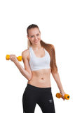 Woman making physical exercises Royalty Free Stock Photography