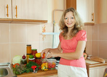 Woman making pickled vegetables Royalty Free Stock Photos