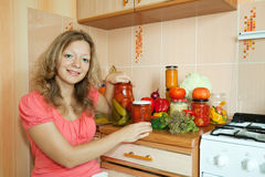 Woman making pickled vegetables Royalty Free Stock Photography