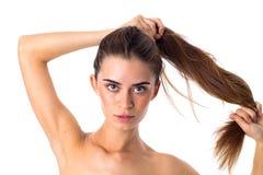 Free Woman Making Ponytail Stock Image - 78706421