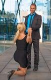 Woman making proposal to man. Stock Photography