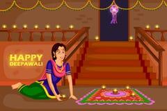 Woman making rangoli for Diwali celebration festival of India vector illustration