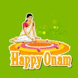 Woman making rangoli for onam Royalty Free Stock Photo
