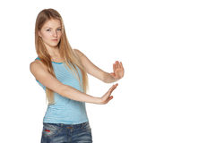 Woman making refuse gesture Royalty Free Stock Photos