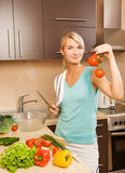 Woman Making Salad Stock Photos