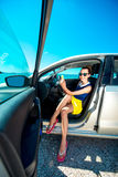 Woman making self portrait in the car Royalty Free Stock Images