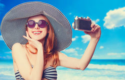 Woman making selfie Royalty Free Stock Photos