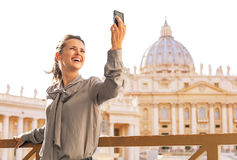 Woman making selfie on piazza san pietro Royalty Free Stock Photos