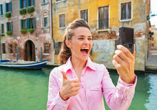 Woman  making selfie in venice Royalty Free Stock Photos