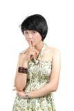 Woman making silence Stock Photo
