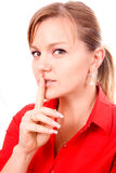 Woman Making Silence Gesture. Isolated woman Making Silence Gesture Royalty Free Stock Photo
