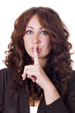 Woman Making Silence Gesture. Isolated woman Making Silence Gesture Stock Images