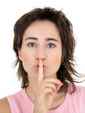 Woman Making Silence Gesture Stock Photo