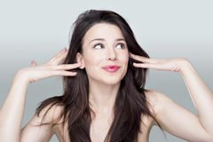 Woman making silly face Royalty Free Stock Photo