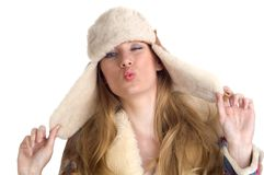Woman making silly faces Stock Images
