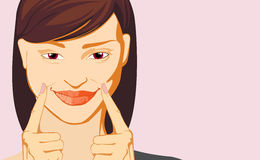 Woman making smile emotion Stock Image