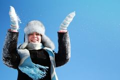 Woman making snowfall Stock Photography