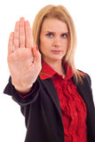 Woman making stop gesture Stock Photo