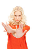 Woman making stop gesture Royalty Free Stock Photography