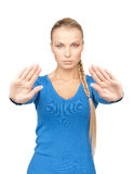 Woman making stop gesture Stock Image