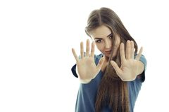 Woman making stop gesture Stock Images