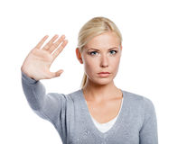 Woman making stop gesture Royalty Free Stock Photos