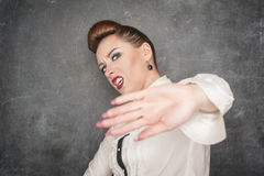 Woman making stop sign gesture Royalty Free Stock Photos