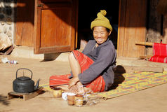 Teatime - White Karen Tribal Village, Mae Hong Son, Thailand Stock Photos
