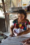Woman making Tortillas in traditional way Royalty Free Stock Photos