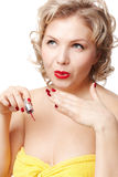 Woman making up manicure Royalty Free Stock Images