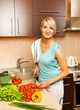 Woman making  vegetable salad Royalty Free Stock Image