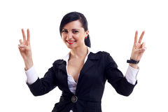 Woman making the victory sign Royalty Free Stock Photo