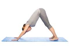Woman making yoga dog pose on mat Royalty Free Stock Images