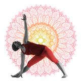 Woman making yoga exercise. Trikonasana isolated on white background Stock Image