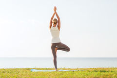 Woman making yoga exercises outdoors from back Royalty Free Stock Images