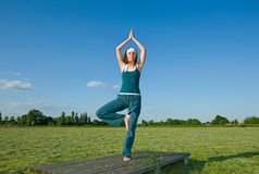 Woman making Yoga exercises in top of a stone wall Stock Photography