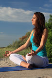 Woman making yoga figure. Stock Images