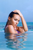 Woman at Maldives Stock Photo