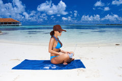 Woman at Maldives Stock Photography