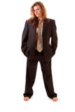 Woman  in male  business suit Royalty Free Stock Photo