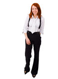 Woman in male looking suit over white Royalty Free Stock Photos